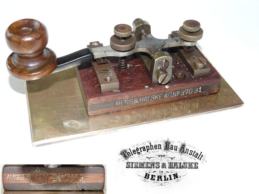 Germany Telegraph key. Made by Siemens & Halske, Berlin. AG.No 37031. Dated 24-11-1903