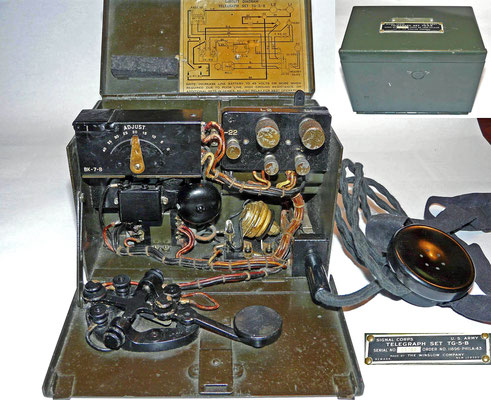 Signal Corps Telegraph set TG-5-B. Made by The Winslow Company. Inside is a J-41-A Key.