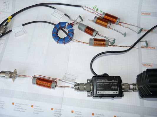 1.1 Voltage air balun Nr1. Test met 100 watt.