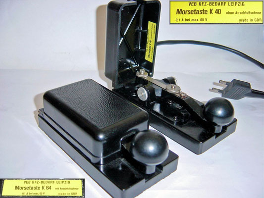 German - DDR. VEB KFZ-Bedarf Leipzig Morsetasten K40 and K64. from 1958 to 1990s.