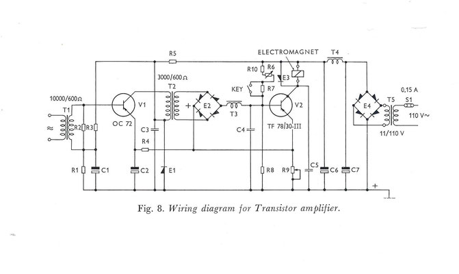 Wiring diagram for transistor amplifier.