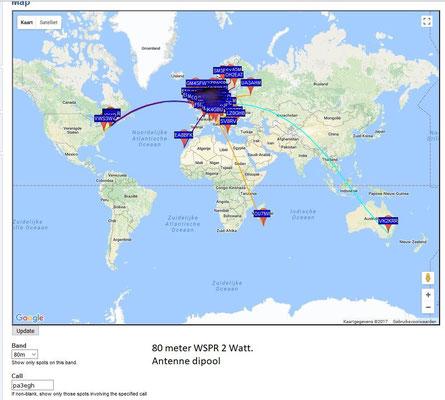 WSPR 80 Meter 3.568.6 MHz. Antenna Dipool 2 X 17 meter. PWR 2 Watt