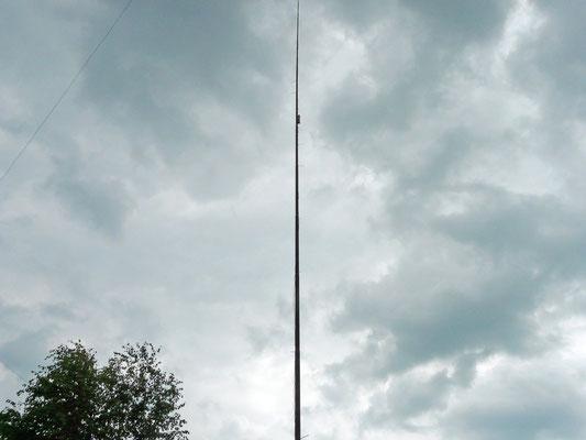 160 meters vertical. 14 meters long 150 µH coil at 8 meters.