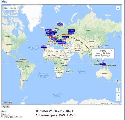 WSPR 10 meter 28.1245 MHz Antenna Dipool 2 X 17 meter. PWR 1 Watt