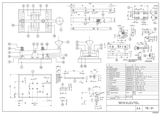 Diagram of a classic Dutch morse key. When this image is printed on A2 paper format the parts of the key will be shown in a 1 to 1 scale (real size)