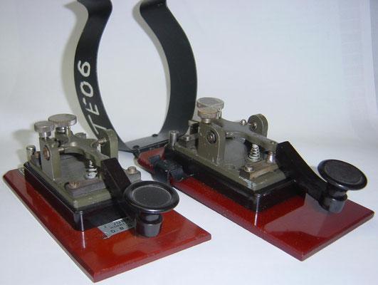Junker Morse Key. M.T.1. Marked J.Junker Bad Honnef-Rh.  D.B.G.M. (Deutsche Bundes GebrauchsMuster)  With Leg Clamp. After 1945