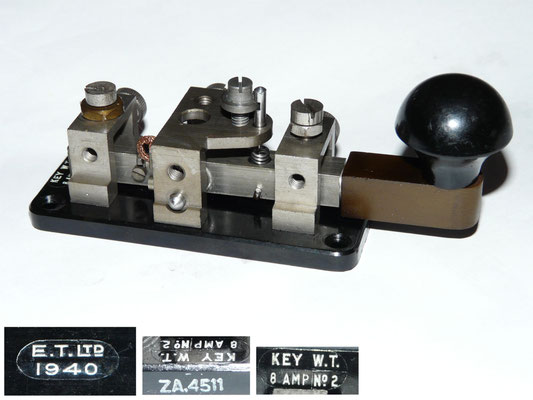 Key WT 8 AMP No2. Made by E.T.Ltd Baxendele. 1940. ZA.4511.