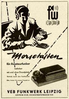 Advertising Morsetasten VEB Funkwerk Leipzig.   Morsetasten K40-K64.