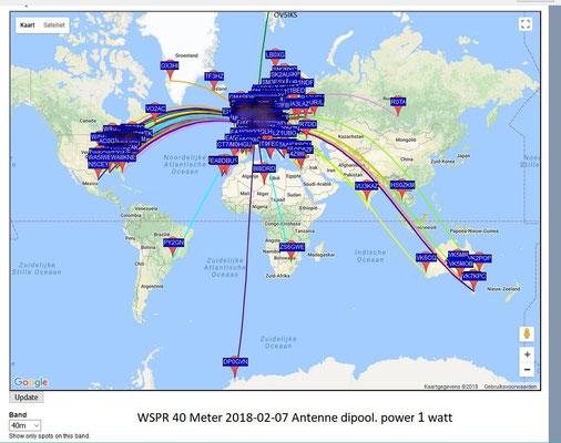 WSPR 40 Meter 7.0386 MHz. 2018-02-07 Antenne dipool 2 x 17 meter. PWR 1 Watt