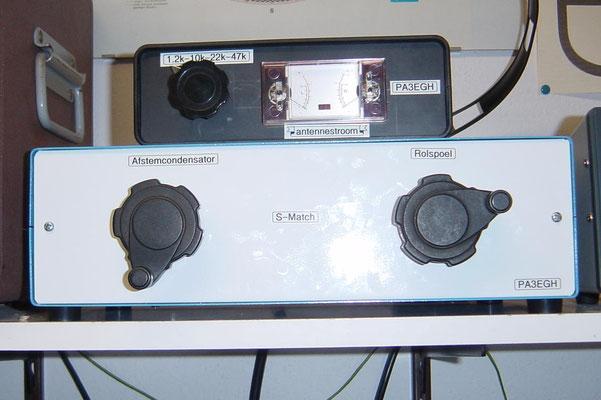 Antenne ATU en openlijn stroom meter in kast.