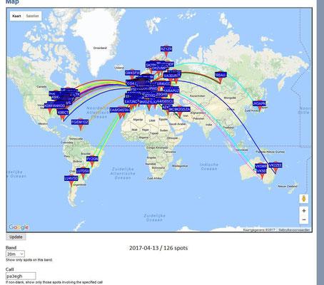 WSPR 20 Meter 14.0596 MHz Antenna Dipool 2 X 17 meter. PWR 1Watt