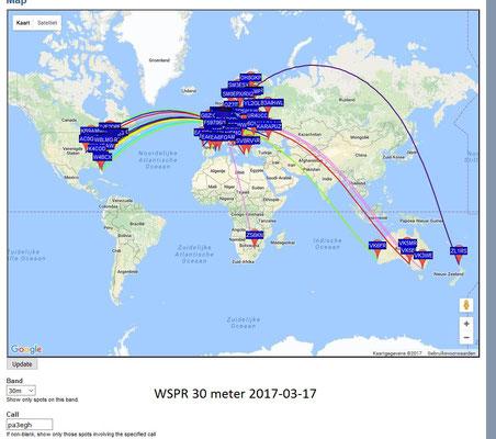 WSPR 30 Meter 10.1387 MHz Antenna Dipool 2 X 17 meter. PWR 1 Watt