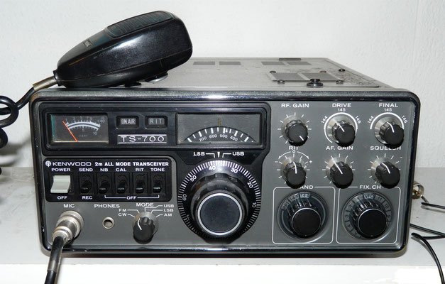 Kenwood TS-700. 2 meter multimode transceiver operation in FM, LSB, USB, AM and CW modes. Power output  10 watts FM, SSB, CW, 3 watts AM. Frequency coverage is 144-147.999 MHz