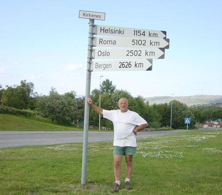 Kirkenes Noord Noorwegen. De afstand van Wijk bij Duurstede naar Kirkenes is 3100 Km.