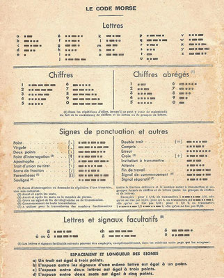France - Instruction manual to learn the Morse Code. 1947