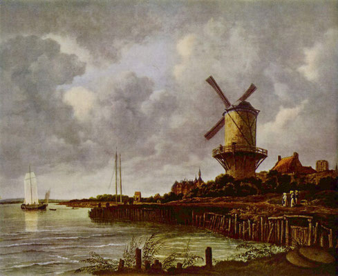 The windmill at Wijk bij Duurstede is a painting by the Dutch painter Jacob van Ruisdael, oil on linen, 83 x 101 centimeters, made around 1670.