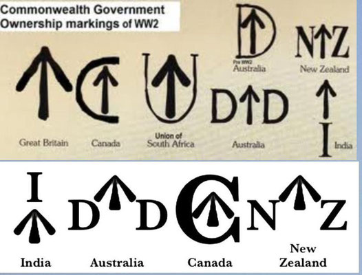 Broad Arrows.Commonwealth countries, distinguished by letters around an arrow: GB =↑(no letters), Australia = D↑D, Canada = C with↑inside, New Zealand=N↑Z.