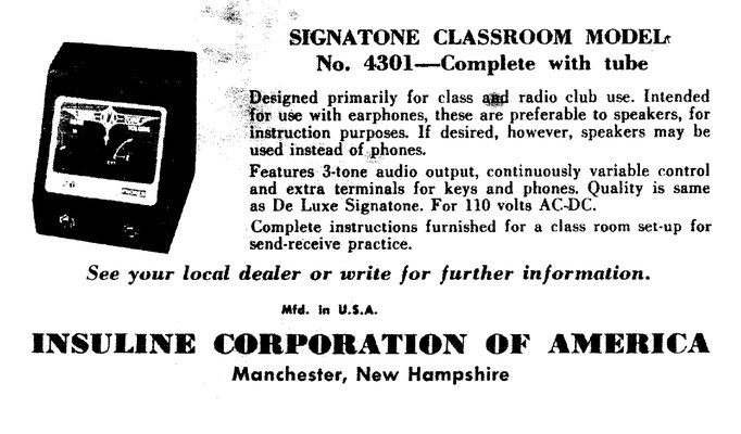 U.S.A. Signatone classroom model No. 4301.