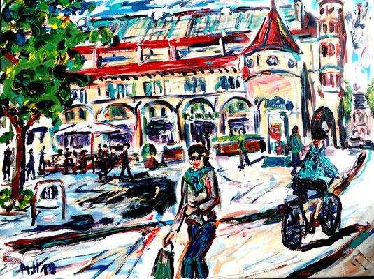 Markthalle/ Acryl auf Leinwand/ 80 cm x 60 cm