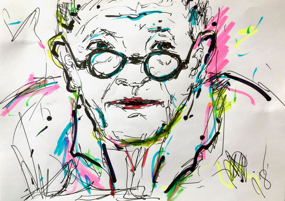 David Hockney/ Filzstift auf DIN A4 Papier