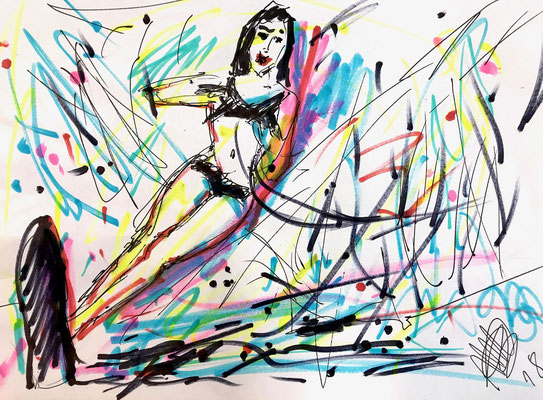 Lady Waterski/ Filzstift auf DIN A4 Papier