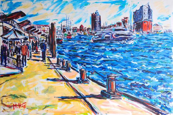 Auf den Landungsbrücken/ Acryl auf Leinwand/ 100 cm x 80 cm