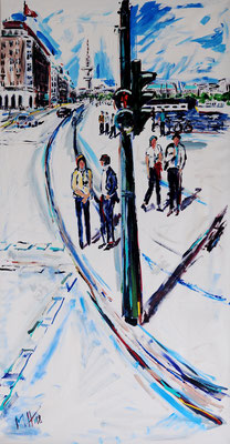 Am Jungfernstieg/ Acryl auf Leinwand/ 130 cm x 190 cm