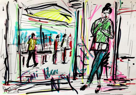 Girli likes beeing in Manhattan Filzstift und Kugelschreiber auf DIN A4 Blatt