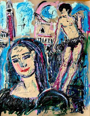 Mona Lisa + Herkulessschen + Venedig/ Acryl auf Papier/ 80 cm x 100 cm