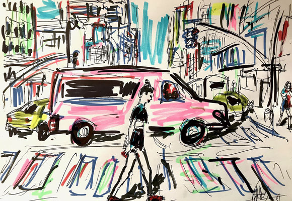 Girli with a pink Van Filzstift und Kugelschreiber auf DIN A4 Blatt