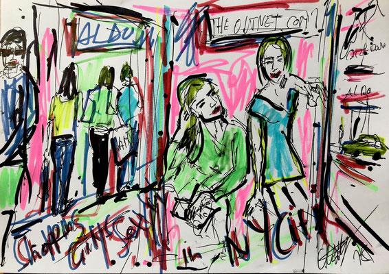 Sweet New York Girlis Filzstift und Kugelschreiber auf DIN A4 Blatt