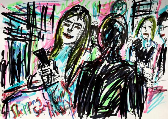 Shopping-Girli with Smartphone/ Filzstift und Kugelschreiber auf DIN A4 Blatt