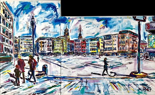 Marktplatz mit Rathaus und Breuninger/ Acryl auf Leinwand/ 200 cm x 100 cm
