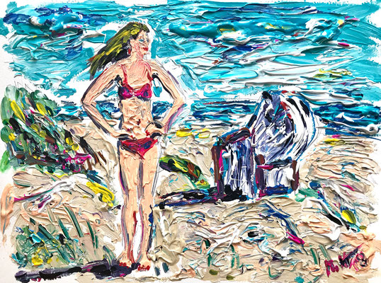 Die Schöne vom Strande 1/ Acryl auf Aquarellpapier/ 40 cm x 30 cm