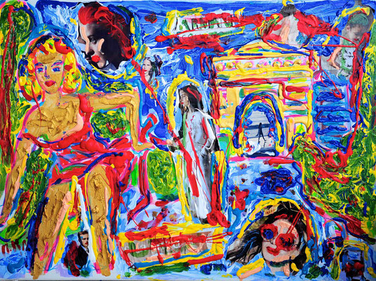 Lady Beautiful besucht mit ihren Freunden Paris/ Zeitungsausschnitte & Acryl auf Leinwand/ 60 cm x 80 cm