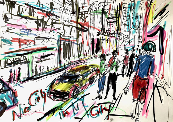 Girlis likes Yellow Cabs Filzstift und Kugelschreiber auf DIN A4 Blatt