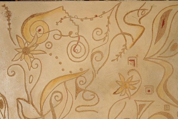 Enduit chaux coloré à fresco et graphisme par grattage