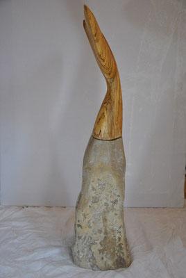 OT, Buchenholz und Kalksteinsockel, 100cm