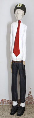 """Maskenmann"", Lindenholz , Gipsabdruck (egoscan) , Lack,  Höhe 185cm, 11.2012"