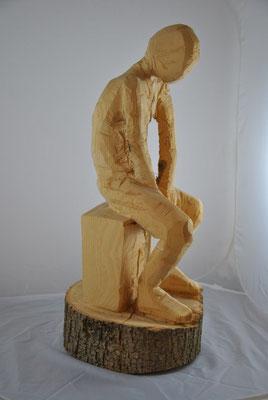 """Sitzender"", Lindenholz, Kettensägerauh, 70cm"