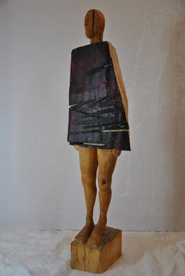 OT; Birkenholz und bemalte Buche, Höhe: 90cm