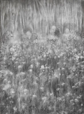 The field, 2014. Houtskool op papier, 150x110cm