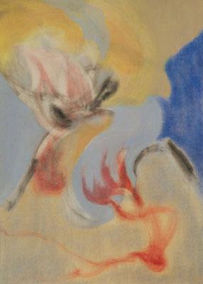 Dive, 2017. Pastel en houtskool op papier, 21x29,7cm.