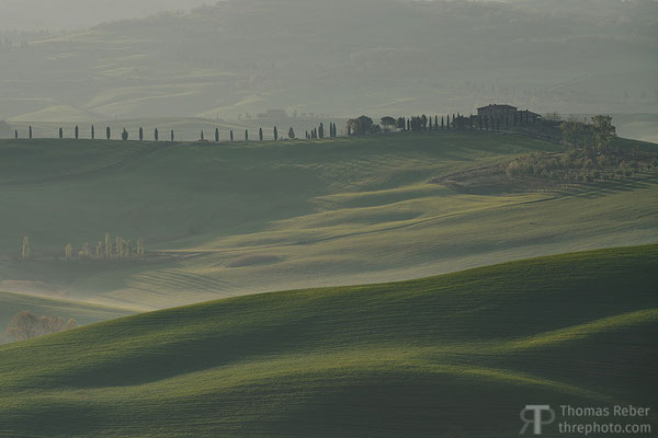 Italy, Val d'Orcia, hills and mist