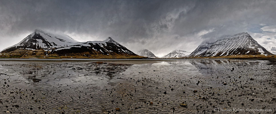 Iceland, Westfjords, pano with reflections
