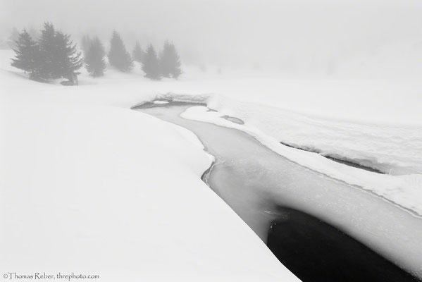 Switzerland, Alp Flix in the fog