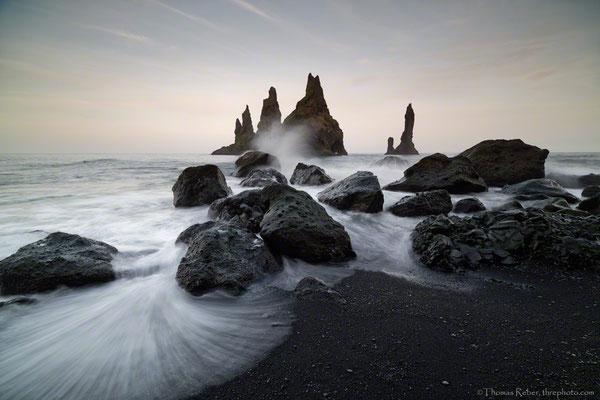 Iceland, Vik, Black beach, Iceland, sunset