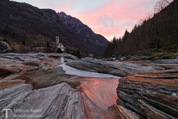 Switzerland, Lavertezzo, sunrise on ice