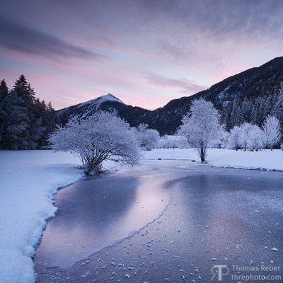 Switzerland, Surava, pink sunset