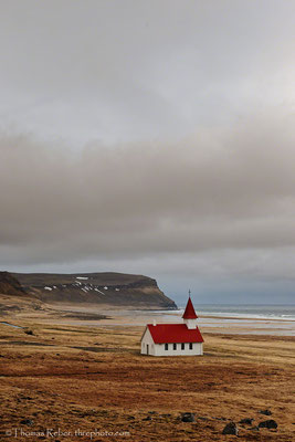 Iceland, little church in the Fjords